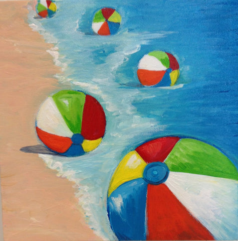 Beach balls on Shore #2- SOLD