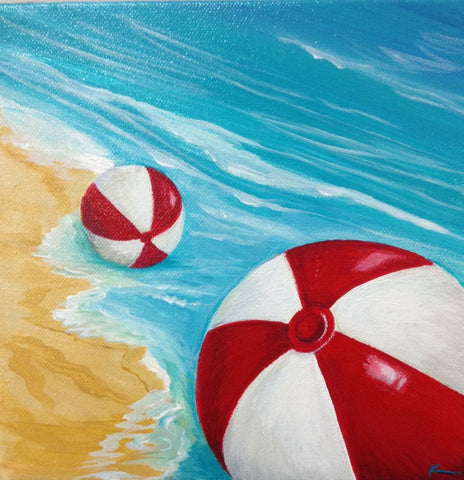 Beach balls on shore #1- SOLD