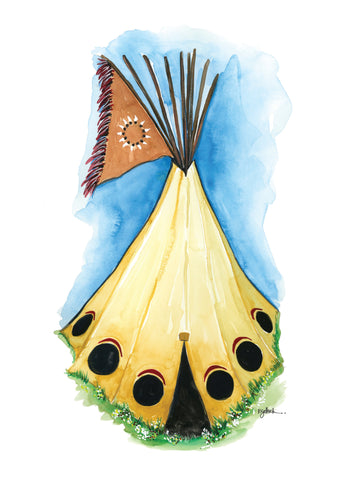 Black Moon Teepee -  Original Watercolor