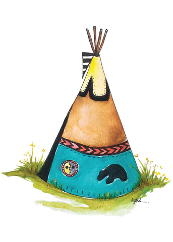 Little Bear Teepee - Greeting Card