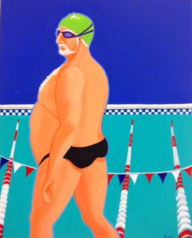 Swimmer in green cap - SOLD