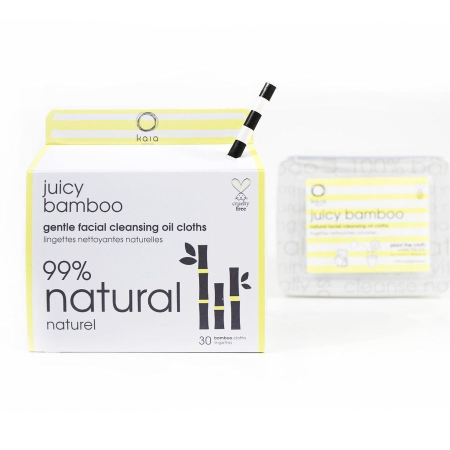 Kaia Naturals Juicy Bamboo Gentle Facial Cleansing Oil Cloths - Good Cubed Cruelty Free Online Beauty Marketplace