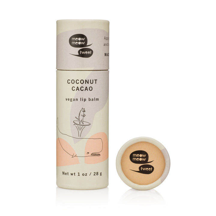 Meow Meow Tweet Coconut Cacao Vegan Lip Balm (1 oz.) - Good Cubed Cruelty Free Online Beauty Marketplace
