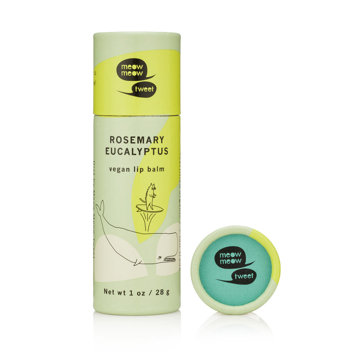 Meow Meow Tweet Rosemary Eucalyptus Vegan Lip Balm (1 oz.) - Good Cubed Cruelty Free Online Beauty Marketplace