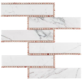 The New Palm Beach by Krista Watterworth Brick White Rose Polished Marble Mosaic