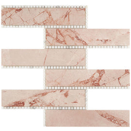 The New Palm Beach by Krista Watterworth Brick Pink Polished Marble Mosaic