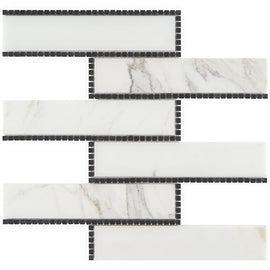 The New Palm Beach by Krista Watterworth Brick White Polished Marble Mosaic