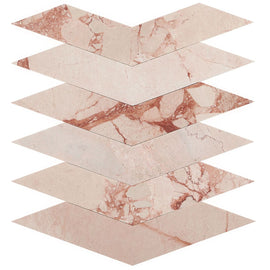 The New Palm Beach by Krista Watterworth Floral Pink Polished Marble Mosaic