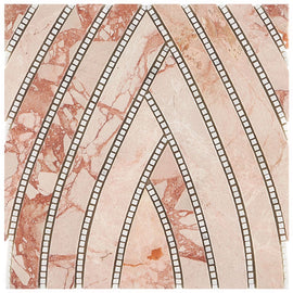 The New Palm Beach by Krista Watterworth Leaf Pink Polished Marble Mosaic