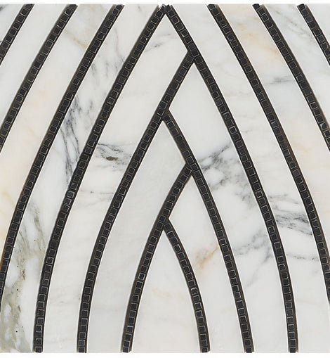 The New Palm Beach by Krista Watterworth Leaf White Polished Marble Mosaic