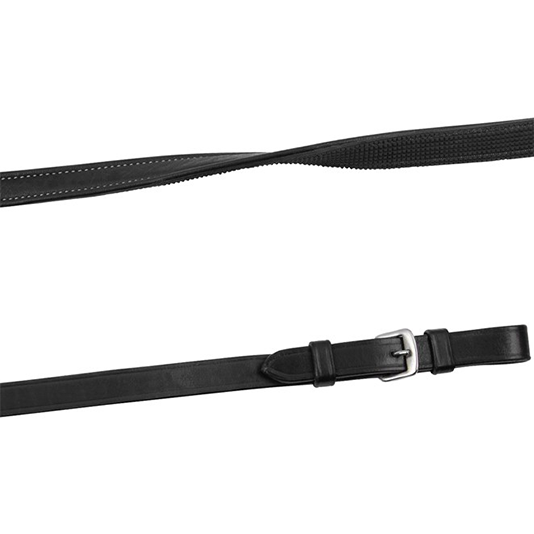 Montar Smooth Leather/Rubber Reins With Creme Stitching And Buckles