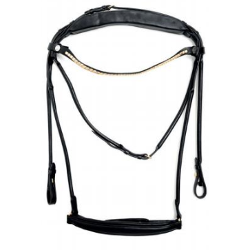 Finesse Single Bridle Black/Black - Gold - Drop Noseband