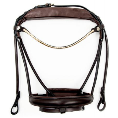Finesse Single Bridle Brown/Brown - Gold Jumping & Icelandic
