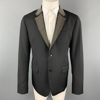 ALEXANDER MCQUEEN Size 42 Black Studded Notch Lapel Wool / Mohair Sport Coat