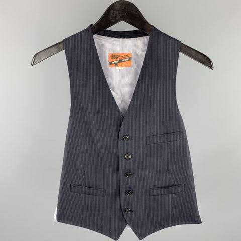 BAND OF OUTSIDERS Size S Navy Pinstripe Wool Buttoned Vest