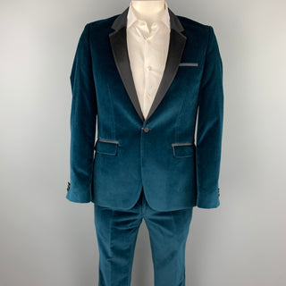 HUGO BOSS Size 40 Regular Teal Cotton Velvet Notch Lapel Tuxedo Suit