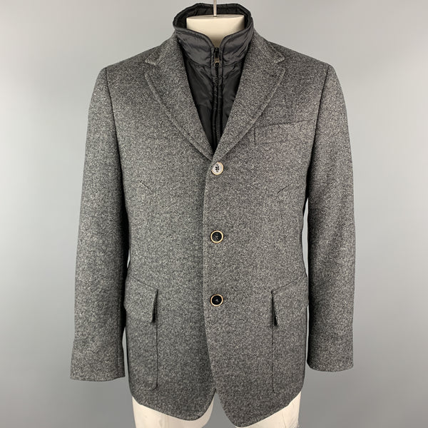 FAY Size M Gray Heather Polyamide Notch Lapel Detachable Vest Jacket