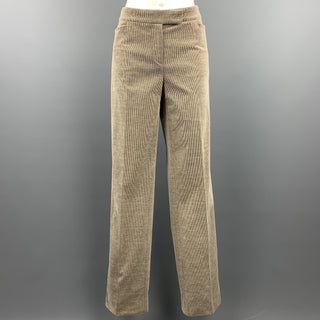 LORO PIANA Size 12 Grey Cotton Blend Corduroy Dress Pants