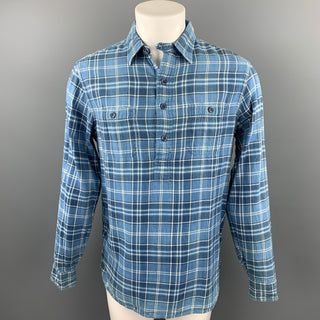 RRL by RALPH LAUREN Size M Blue Plaid Cotton Button Up Long Sleeve Shirt
