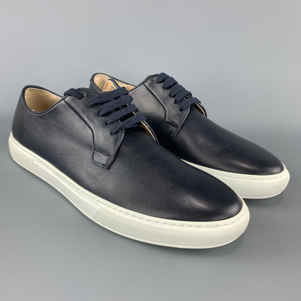 BARNEY'S NEW YORK Navy Leather Size 13 Lace Up Low Top Sneakers