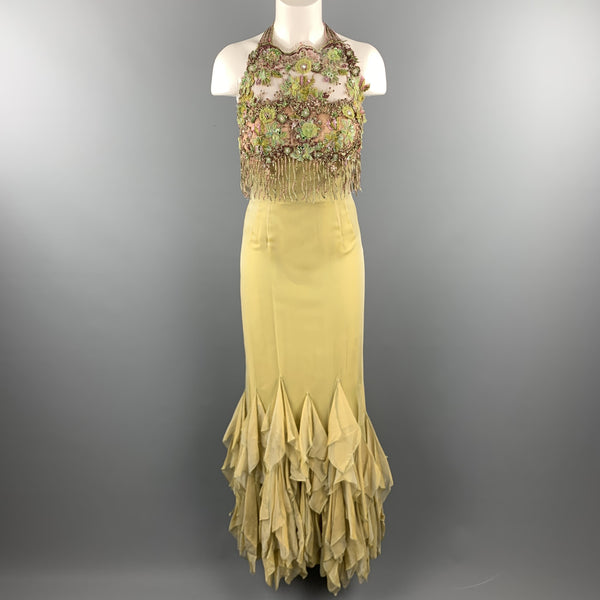 LILY SAMII Size 6 Light Green Silk Floral Beaded Lace Bustier Evening Gown
