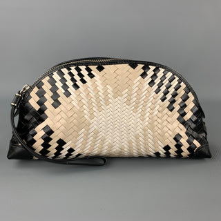 COLE HAAN Black & Beige Woven Leather Clutch