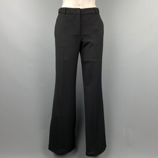 EMPORIO ARMANI Size 4 Black Wool Blend Wide Leg Dress Pants
