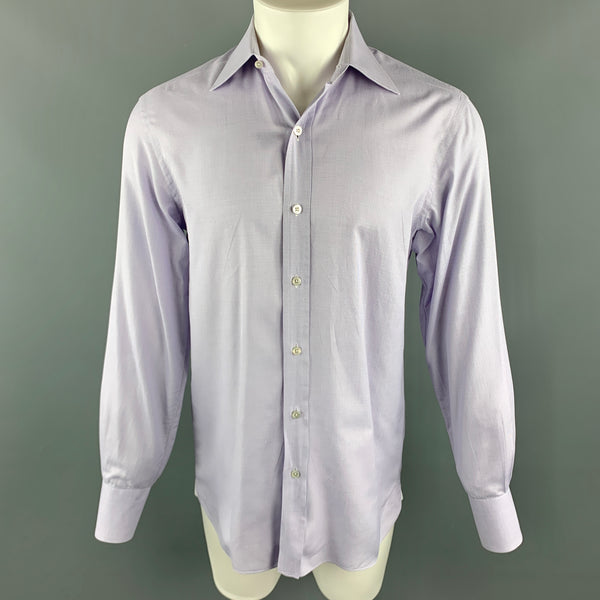 TOM FORD Size M Lavender Grid Cotton Spread Collar Button Up Long Sleeve Shirt