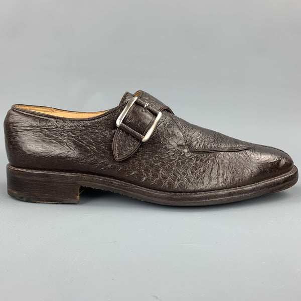WILSON and DEAN Size 9.5 Brown Textured Leather Monk Strap Loafers