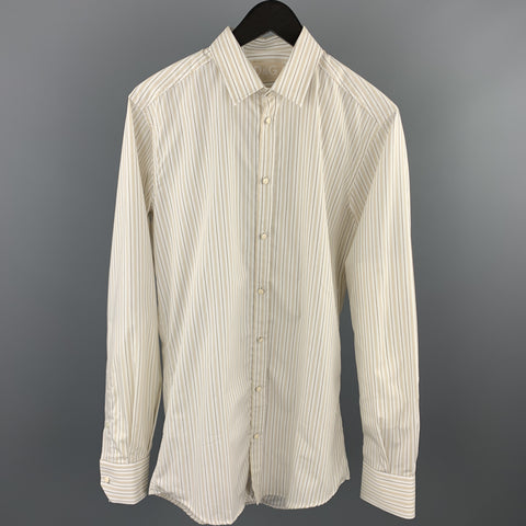 DOLCE & GABBANA Size M White Stripe Cotton 3/4 Sleeves Long Sleeve Shirt