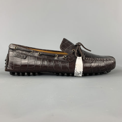 COLE HAAN Size 9 Brown Embossed Leather Drivers Loafers
