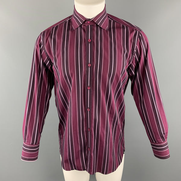 TED BAKER Size M Burgundy Stripe Cotton Spread Collar Button Up Long Sleeve Shirt