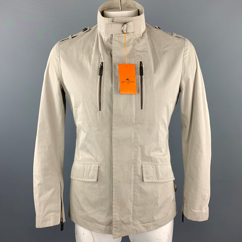 ETRO Chest Size M Beige Cotton / Polyester High Collar Zip Up & Buttons Jacket