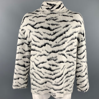GIVENCHY Size XS White & Black Tiger Mohair Blend Turtleneck Sweater