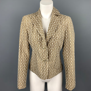 AKRIS Size 6 Taupe & Cream Silk / Cotton Embroidered Taffeta Cropped Blazer