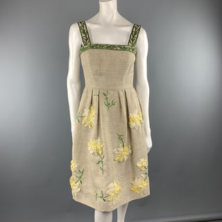 OSCAR DE LA RENTA Size 0 Taupe Woven Yellow Silk Flower Fit Flair Dress