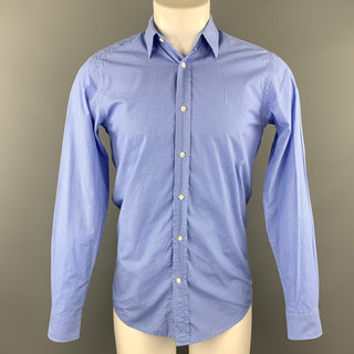RALPH LAUREN Black Label Size S Blue Window Pane Cotton Button Up Long Sleeve Shirt
