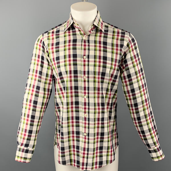 ETRO Size S Multi-Color Plaid Cotton Long Sleeve Shirt