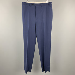 CANALI Size 34 x 35 Navy Wool Zip Fly Dress Pants