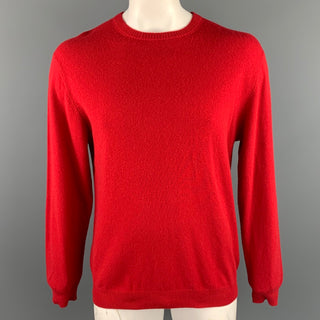 ROUNDTREE & YORKE Size L Red Cashmere Crew-Neck Pullover