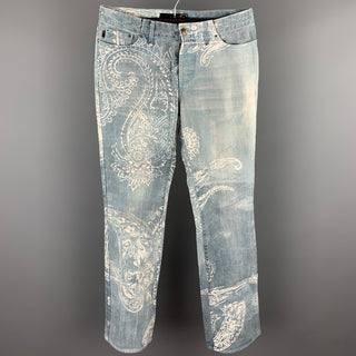ROBERTO CAVALLI Size 33 Light Blue Paisley Denim Button Fly Jeans