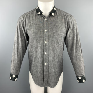 COMME des GARCONS HOMME PLUS Size XS Gray Cotton Polka Dots Trim Long Sleeve Shirt