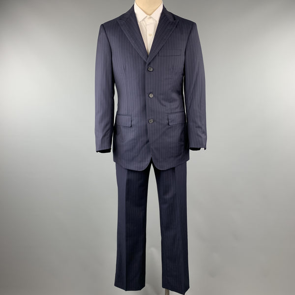 DAVID AUGUST Size 40 Navy & Pink Stripe Wool Peak Lapel 34 x 30 Suit