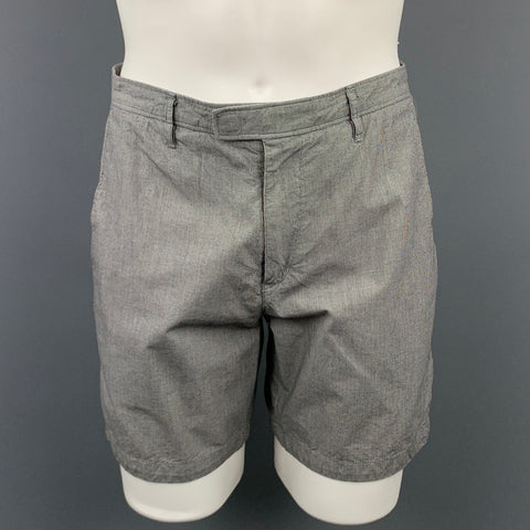 THEORY Size 32 Gray Houndstooth Cotton Zip Fly Shorts