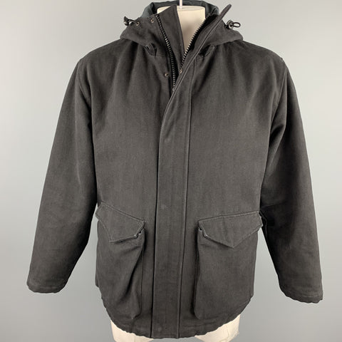ADAM KIMMEL Size M Black Cotton Zip & Snaps Hooded Jacket