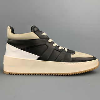 FEAR OF GOD Size 11 Black & Beige Color Block Leather Basketball Sneakers