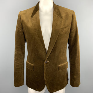 DOLCE & GABBANA Size 44 Brown Cotton Velvet Peak Lapel Sport Coat