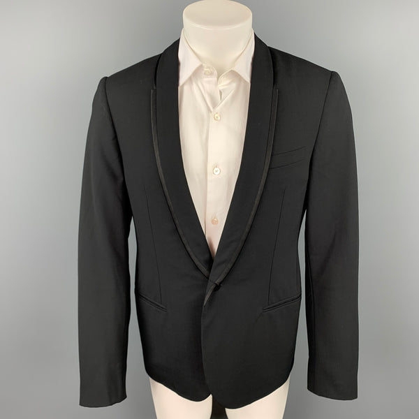 LANVIN Size 40 Black Wool / Lycra Shawl Lapel Tuxedo Sport Coat