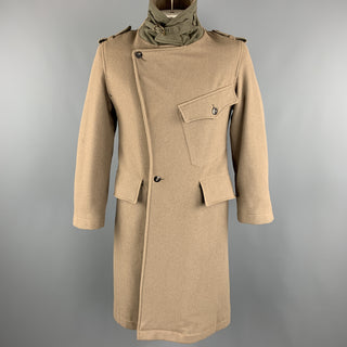 ANDREW MACKENZIE Size M Taupe Wool Blend Double Breasted Epaulettes Long Coat