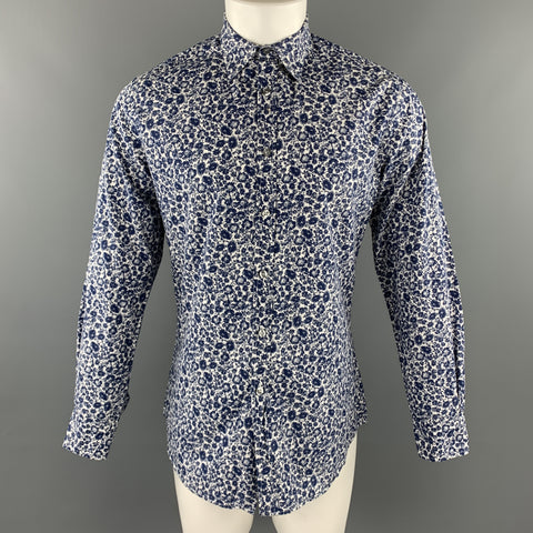 PAUL SMITH Size S Navy & White Floral Cotton Button Up Long Sleeve Shirt